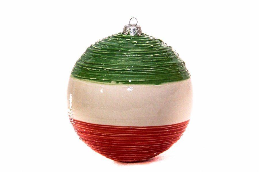 """Pallina di Natale tricolore in ceramica """"Italia"""", fatto a mano, Ceramiche Liberati"""