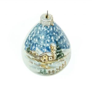 Drop-shaped Christmas ball for Christmas tree, landscape, Ceramiche Liberati