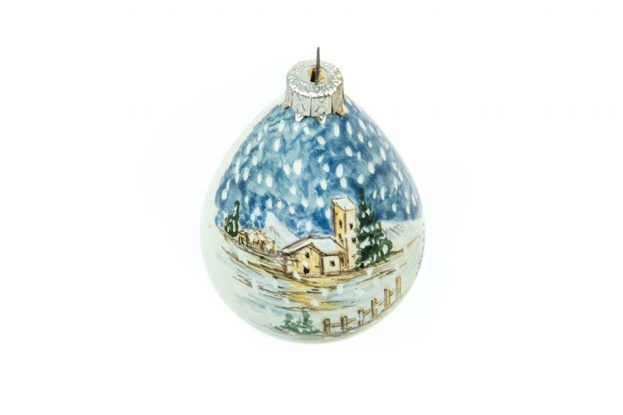 Drop Shaped Ceramic Christmas Ball Landscape