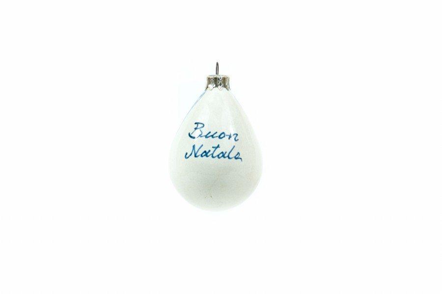 Pallina a goccia in ceramica, da albero di Natale, paesaggio, Ceramiche Liberati