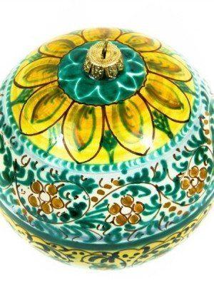 Pallina di Natale con decoro a fascia, dipinto a mano, Ceramiche liberati