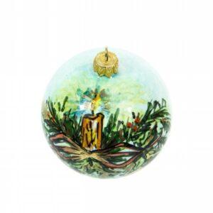 Pallina natalizia con fiocco e candela, Ceramiche Liberati