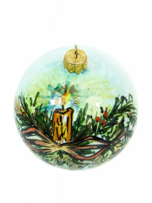 Christmas ball with bow and candle, Ceramiche Liberati