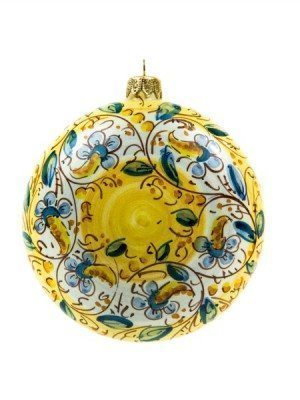 Flattened, ceramic Christmas ball, hand-decorated, Ceramiche Liberati
