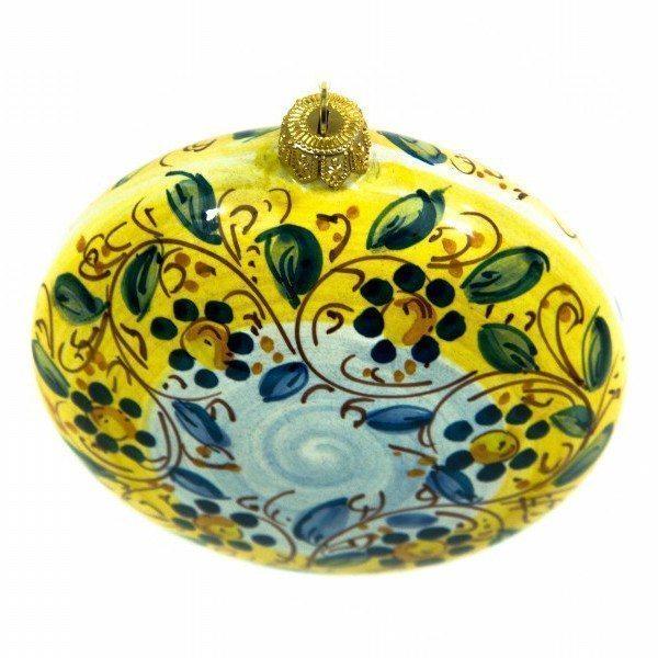 Pallina per albero di natale in ceramica, schiacciata, decoro a mano, Ceramiche Liberati