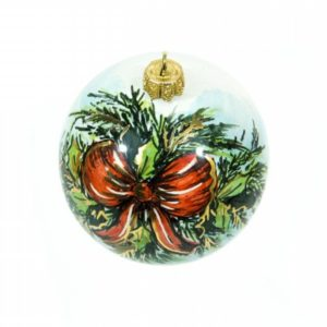 """Ceramic Christmas ball """"Red bow"""", hand-painted by Ceramiche Liberati"""