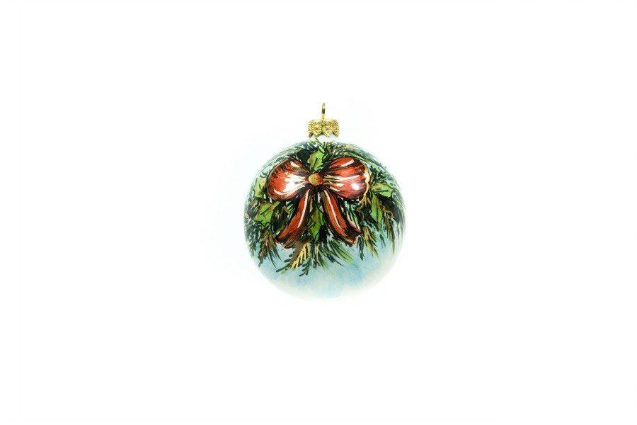 """Pallina natalizia in ceramica """"Fiocco rosso"""", dipinto a mano, Ceramiche Liberati"""