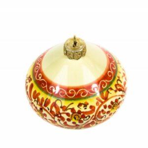 """Pallina di Natale in ceramica """"trottola"""", decorata a mano con decoro a fascia, Ceramiche Liberati"""