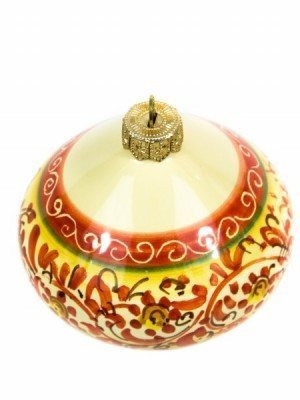 "Ceramic Christmas ball ""Trottola"" hand-decorated with band decoration, Ceramiche Liberati"
