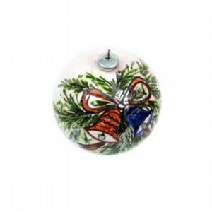 Ceramic Christmas ball, blue and red bells, hand-decorated, Ceramiche Liberati