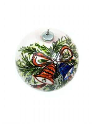 Ceramic Christmas ball, blue and red bells, hand-decorated, Ceramiche Liberati
