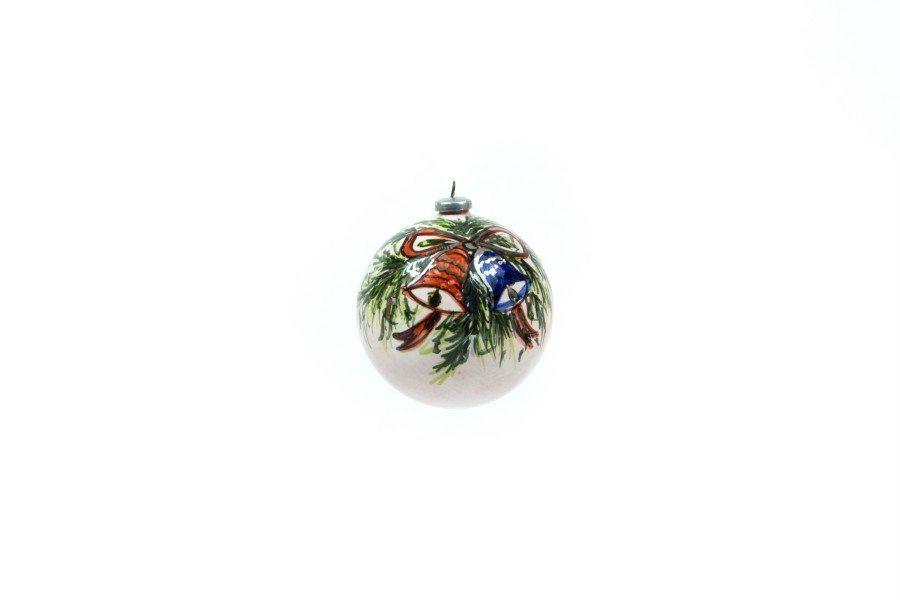 Pallina di Natale in ceramica, Campanelle rossae blu, dipinto a mano, Ceramiche LIberati