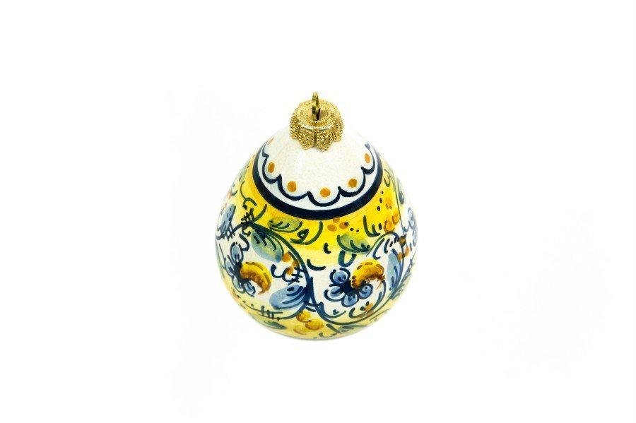 Pallina per natale in ceramica, a forma di Goccia, decorato a mano, Ceramiche Liberati