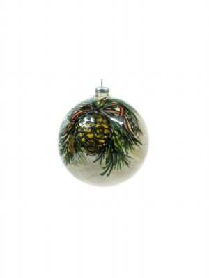 Ceramic ball with pine cone and red ribbon, handmade by Ceramiche Liberati