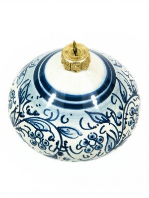 Top-shaped ceramic Christmas ball, blue decoration, Ceramiche Liberati