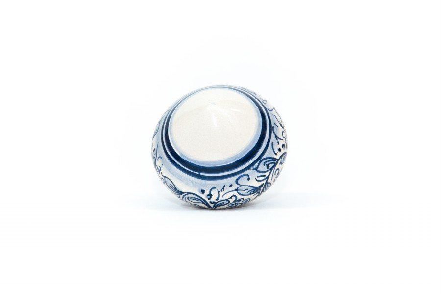 Pallina di Natale in ceramica a forma di Trottola, decoro blu, Ceramiche Liberati
