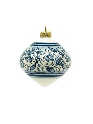 Top-shaped ceramic Christmas ball, blue decoration.