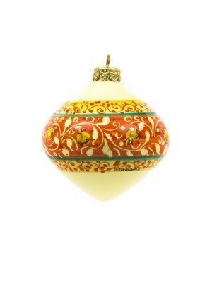 "Ceramic Christmas ball ""Trottola"", red decoration, Ceramiche Liberati"