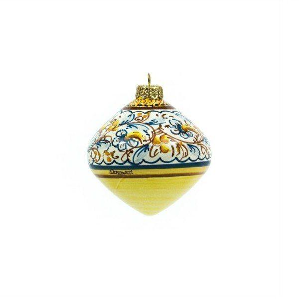 Pallina di Natale in ceramica, Trottola, decoro a fascia, Ceramiche Liberati