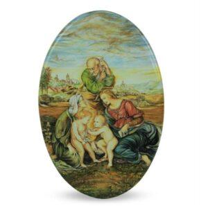 Ovale in ceramica Sacra Famiglia Canigiani, dipinto a mano, Ceramiche Liberati