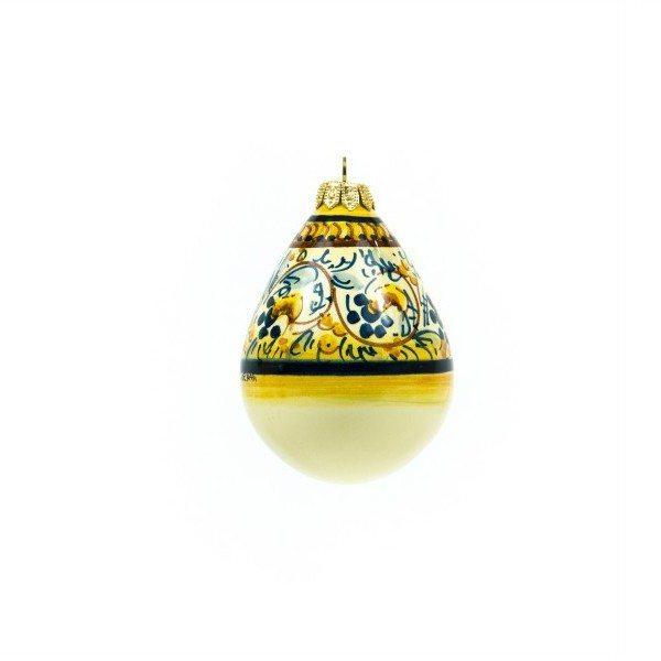 Pallina di Natale in ceramica a gocci, decoro a fasci, Ceramiche Liberati