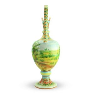 Anfora in ceramica, Paesaggio e Mietitrice veneta di Cascella, Ceramiche Liberati