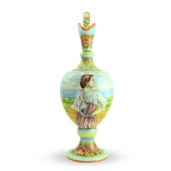 Anfora in ceramica, Paesaggio e Mietitrice romagnola_Ceramiche Liberati