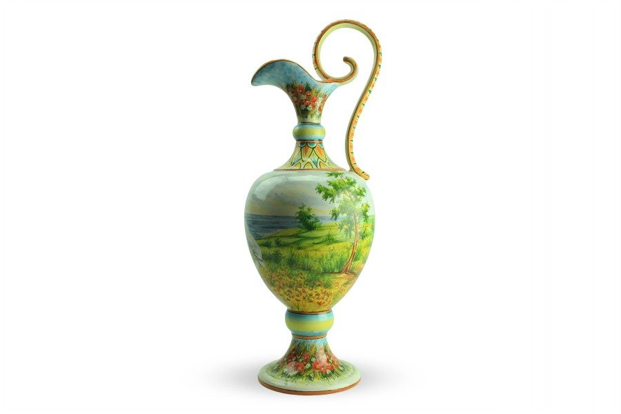 Anfora in ceramica, Paesaggio e Mietitrice Romagna di Cascella, Ceramiche Liberati
