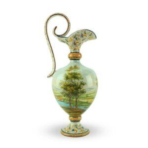 Anfora tradizionale in ceramica altezza 38 cm, paesaggio dipinto a mano, Ceramiche Liberati