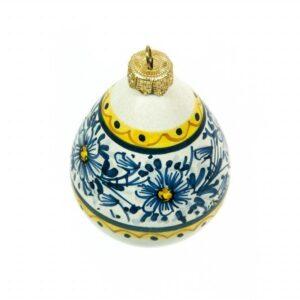 Pallina di Natale in ceramica, decoro fascia di margherite, Ceramiche Liberati