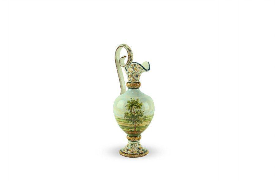 Anfora in ceramica, decoro paesaggio tradizionale, altezza 25 cm, Ceramiche Liberati