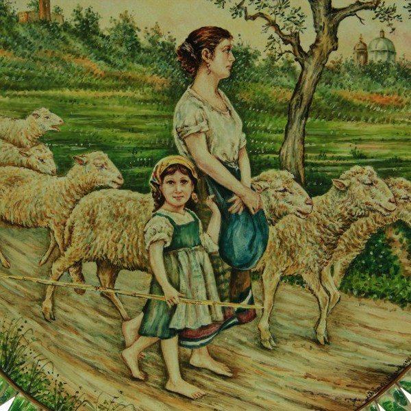 46CIT_Piatto in ceramica La Pastorella Michetti, dipinto a mano, fascia intrecciata_Ceramiche Liberati
