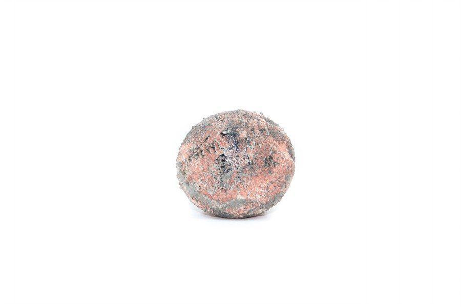 Pallina in ceramica per l'albero di Natale, a trottola con platino, Ceramiche Liberati