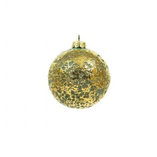 Pallina di Natale in ceramica, verde acqua e oro zecchino, Ceramiche Liberati