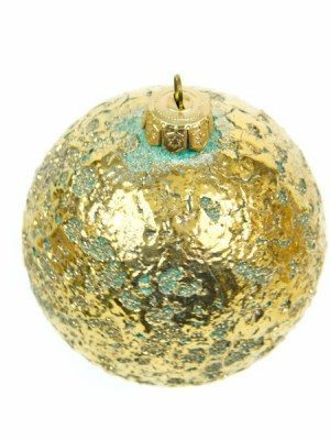 Ceramic Christmas ball, aqua green and pure gold, Ceramiche Liberati