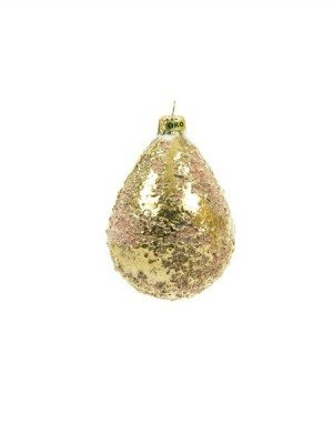 Drop-shaped, ceramic Christmas ball with pure gold, Ceramiche Liberati