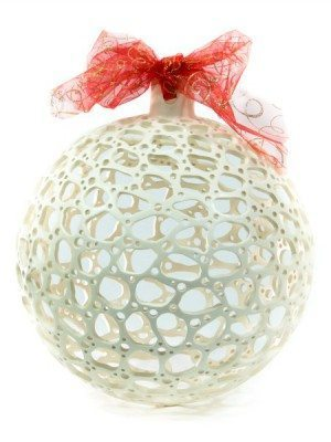 Big white ceramic Christmas ball, hand drilled Ceramiche Liberati