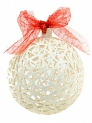 White ceramic Christmas ball, hand drilled, diameter 22 cm, Ceramiche Liberati