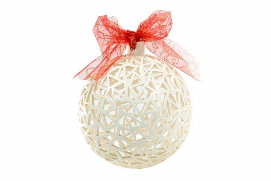 Sfera di Natale bianca traforata a mano, diametro 22 cm, Ceramiche Liberati