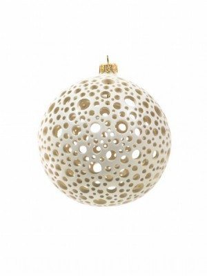 Ceramic Christmas ball, white, with pois drilling, Ceramiche Liberati