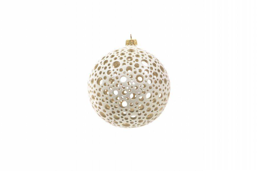 Pallina di Natale in ceramica, traforo a pois, bianco, Ceramiche Liberati