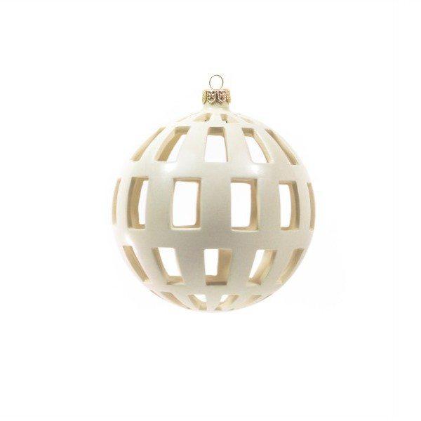 53MIT_Pallina di Natale moderna traforo regolare ceramica bianca_Ceramiche Liberati