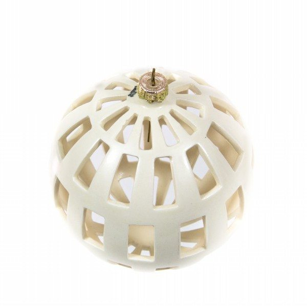 53MIT_Pallina di Natale traforo regolare ceramica bianca_Ceramiche Liberati
