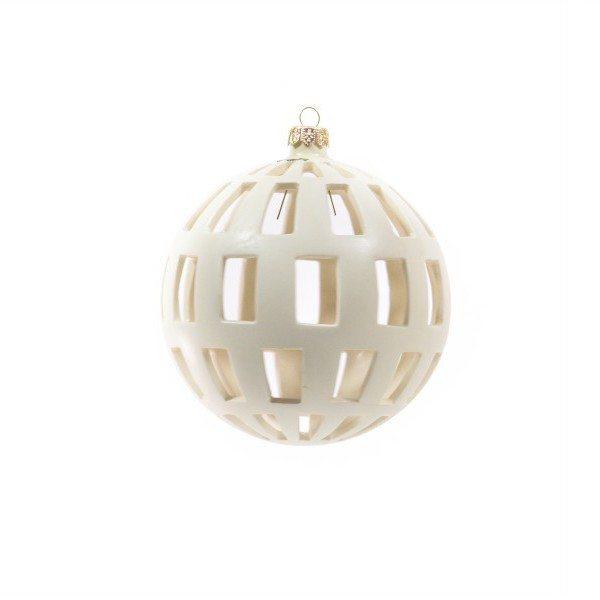 53MIT_Pallina per albero di Natale traforo regolare ceramica bianca_Ceramiche Liberati