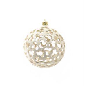 Pallina per albero di Natale in ceramica traforato, bianca, diametro 12 cm. Ceramiche Liberati