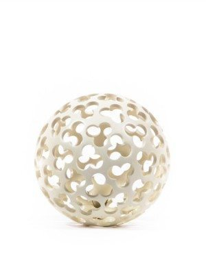 Drilled ceramic, Christmas ball, white, diameter 12 cm. Ceramiche Liberati