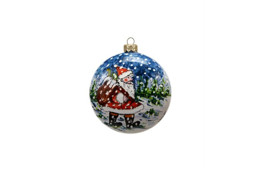 Pallina di natale in ceramica, Babbo Natale e paesaggio invernale, Ceramiche Liberati