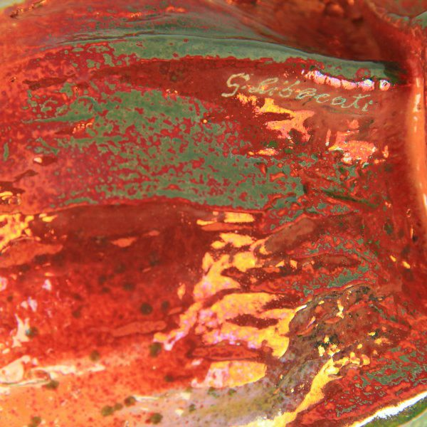Zucca decorativa in ceramica italiana a riflessi, Ceramiche Liberati