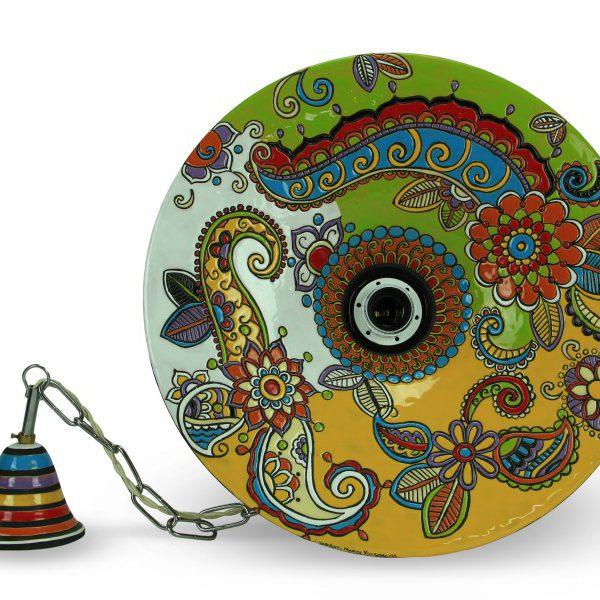 Lampadario in ceramica cuerda seca, pendente da soffitto, Ceramiche Liberati