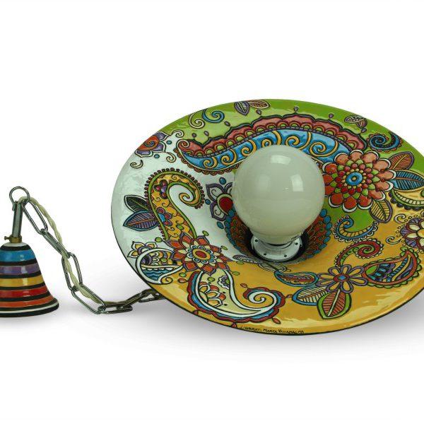 Lampadario in ceramica cuerda seca da soffitto - Liberati